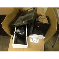 2 BOXES OF HOTEL CHAIRS COVERS, MISC TRAYS AND MORE