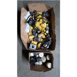 Boxes of electrical plugs new and used