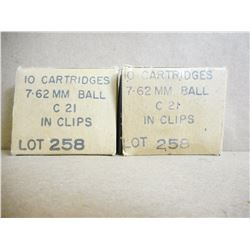 7.62 MM BALL C21 IN CLIPS MARKED LOT 258