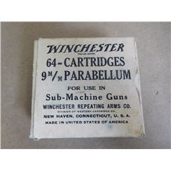 WINCHESTER 9MM PARABELLUM FOR USE IN SUB-MACHINE GUNS STAMPED 1942