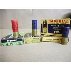 ASSORTED IMPERIAL 12 GA X 2 3/4 SHOT SHELLS INCL. MAGNUM, LR SLUGS  IN ANTIQUE BOXES