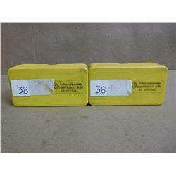 ASSORTED LOT OF .38 SPL WADCUTTERS/ .38 SPL IN PLASTIC CASES