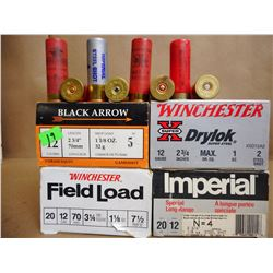 ASSORTED LOT OF 12 GA X 2 3/4 SHOTGUN SHELLS INCL WINCHESTER, IMPERIAL AND BLACK ARROW