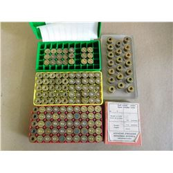 ASSORTED LOT OF .455 COLT PRIMED AND UNPRIMED AND 6.5X 54  BRASS CART, IN PLASTIC CASE OR TRAY