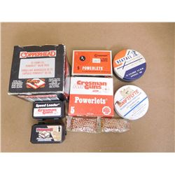 ASSORTED LOT OF AIR RIFLE ACCESS. INCLUDING CO2 CART., .177 CAL PELLETS AND DAISY BB'S