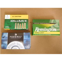 ASSORTED LOT OF .303 BRITISH INCL FEDERAL, REMINGTON AND LELLIER & BELLOT