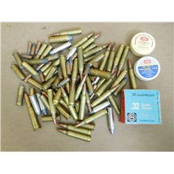 ASSORTED LOT OF RIFLE AND PISTOL AMMO INCL .38 SPL,  .32 AUTO, 30-30, 45 COLT, .223 AND PRECUSSION C