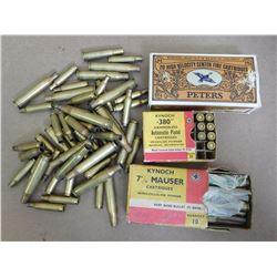 ASSORTED LOT OF AMMO AND BRASS INCL. .30 KYNOCH 7MM KYNICH AND PETERS .222 REM