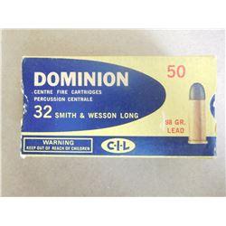 CIL DOMINION 32 S & W LONG 98 GR. LEAD BULLETS