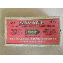 SAVAGE .32 AUTOMATIC PISTOL CARTRIDGES SMOKELESS METAL CASED BULLET