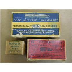 ASSORTED LOT OF ANTIQUE AMMUNITION INCL. 30-30, .380 AND 7.65