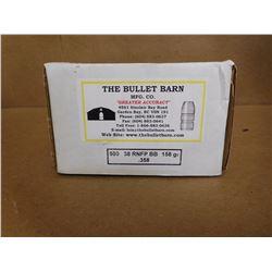 THE BULLET BARN MFG. .38 RNFP BB 158 GR .358 LEAD BULLETS