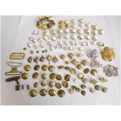ASSORTED PINS, PIPS & BUTTONS