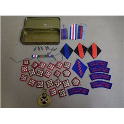 TIN WITH RIBBONS AND BADGES
