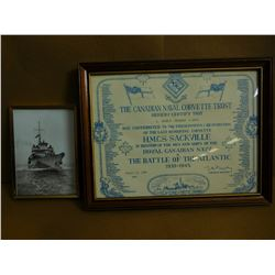 CANADIAN NAVY PHOTO & CERTIFICATE