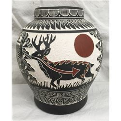 Carved Native American Scenic Pot Artist Signed