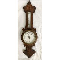 Thermometer & Barometer In Carved Oak Case