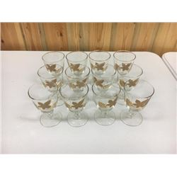 12 Gold Decorated Goblets