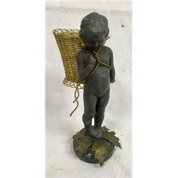 Cherub Bronze Figure With Wire Brass Basket