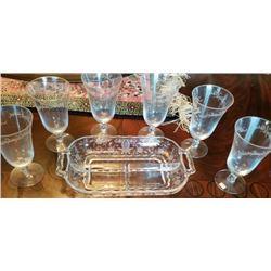 Libby Tray & 5 Fostoria Glasses