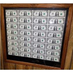 Uncut Plate Of 32 - $1 Bills