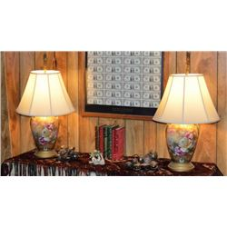 Pair Hand Painted Nippon Lamps