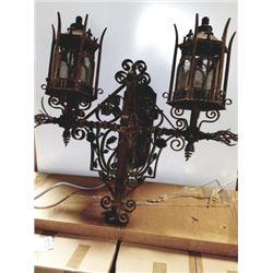 Large Iron Double Lamp
