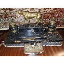 Bronze And Marble Desk Set