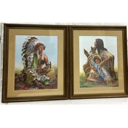 Pair Framed Indian Prints By