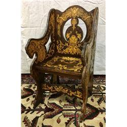 Rare Very Unusual Folk Art Arm Chair