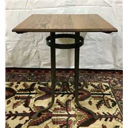 Oak Top Table With Wrought Iron Base