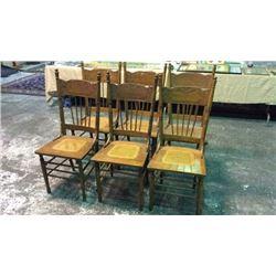 Set Of 6 Matching Antique Oak Chairs