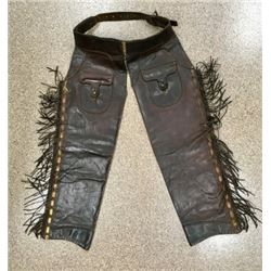 Pair Early Leather Shotgun Chaps By Ortmayer
