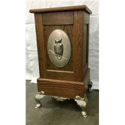 Oak Slot Machine With Metal Plaque Of Owl