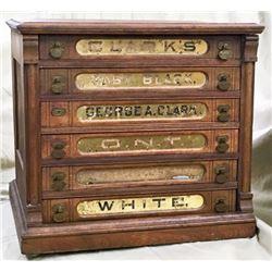Clark's 6 Drawer Walnut Spool Cabinet