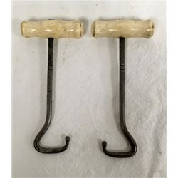 Pair Cowboy Boot Pulls With Carved Bone Handles