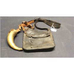 18th Century Powder Horn And Bag