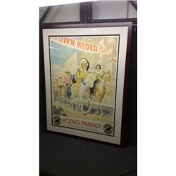 Framed Northern Pacific Advertising Rodeo Poster