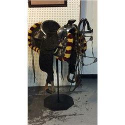 Silver Keystone Saddle 14k Horse Heads And