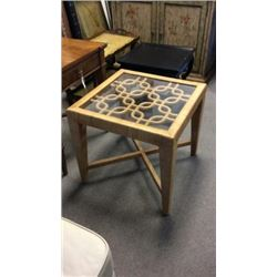 Maitland Smith Wrapped Side Table Glass Top