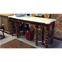 Maitland Smith Marble Top Hand Carved Console