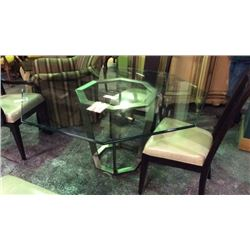 FFDM 56'' Glass Top Table Metal Base