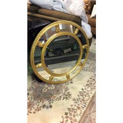 La Barge Round Carved Mirror with Gold Leaf