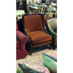 Century High Back Wood Trim Occasional Chair with