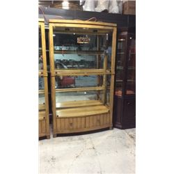 FFDM Bow Glass Front Mirrored Oak Curio