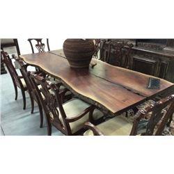 Century Acicia Wood Slab Table with Cast Iron