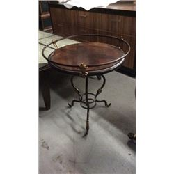 Lexington Round End Table with Compass Inlaid
