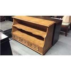 Century Pine Open 2 Shelf 3 Drawer Display Cabinet