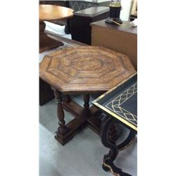 Century Octagon Rustic Hand Hewn End Table