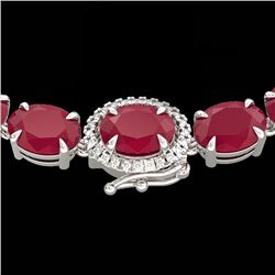 92 CTW Ruby & VS/SI Diamond Eternity Tennis Micro Halo Necklace 14K White Gold - REF-527M3F - 23475
